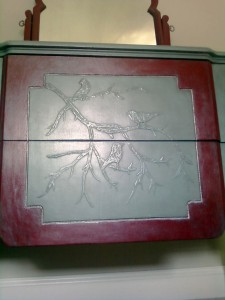 Painted Embossed Design Using Drywall Spackle