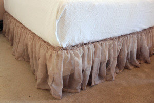 Repurposed Window Scarf into Bed Skirt