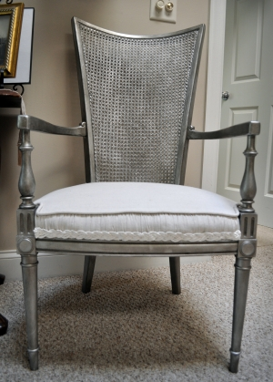 Cane Back Chair with Aged Silver Finish