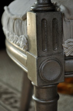 Repaired Cane Back Chairs with Aged Silver Finish