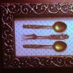 Vintage Silverware in Embossed Frame