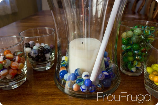 Arranging Vintage Glass Marbles in a Vase