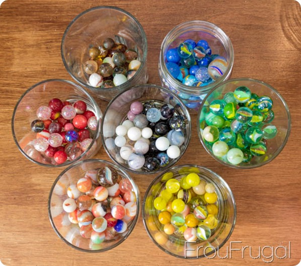 Vintage Glass Marbles Sorted By Color