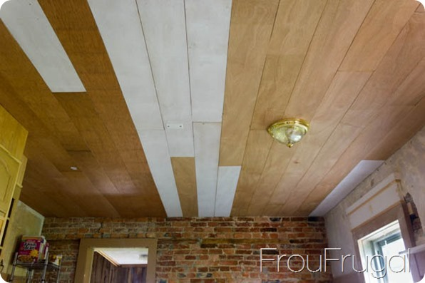 Diy Plank Ceiling Before Paint