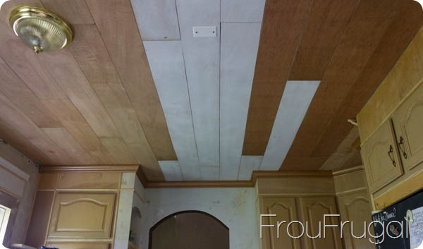 DIY Plank Ceiling and Crown Molding Before Paint
