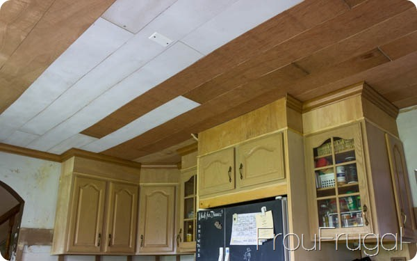 DIY Plank Ceiling and Crown Molding Fridge Surround Before Paint