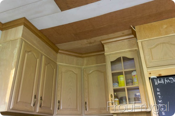 DIY Crown Molding and Plank Ceiling Before Paint