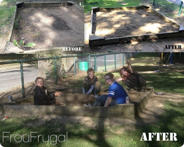Sand Box before and after - Eagle Project