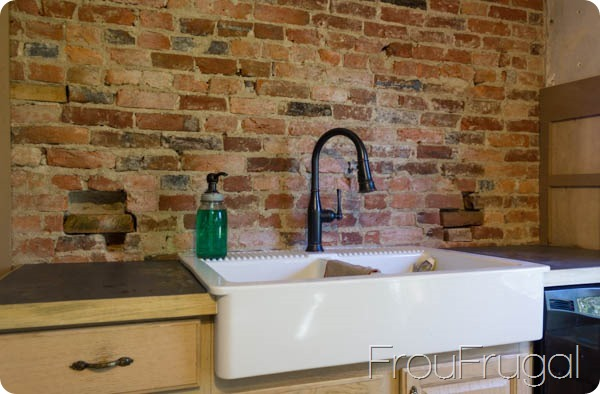 Kitchen Sink with Brick Wall
