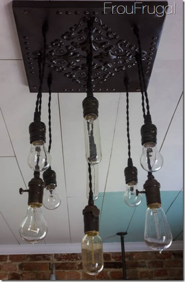 Bare Edison Bulb Ceiling Tile Light Fixture