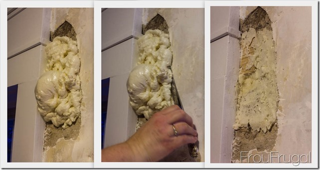 Using Great Stuff to Fill A Hole in the Plaster over Brick Wall