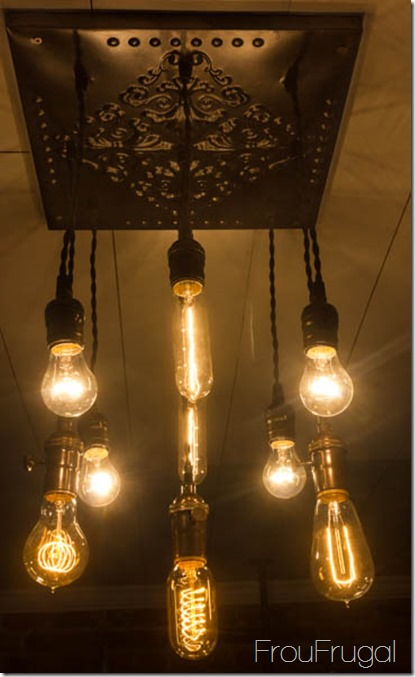 Vintage Bare Edison Bulb Chandelier with Lights On