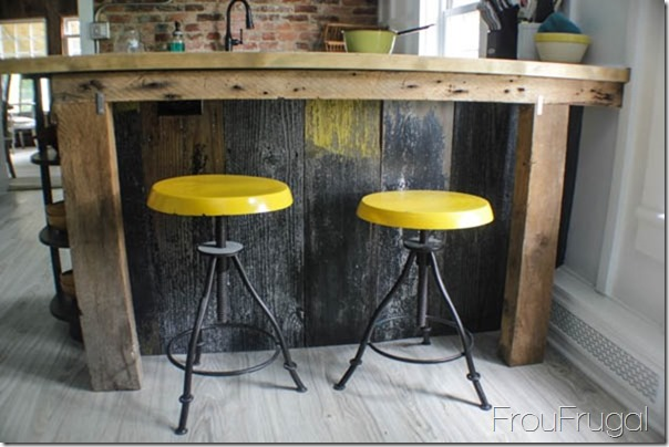 DIY Barn Wood Island with Painted Stools