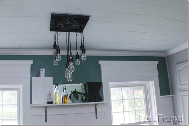 Kitchen Remodel - After - DIY Bare Edison Bulb Chandelier